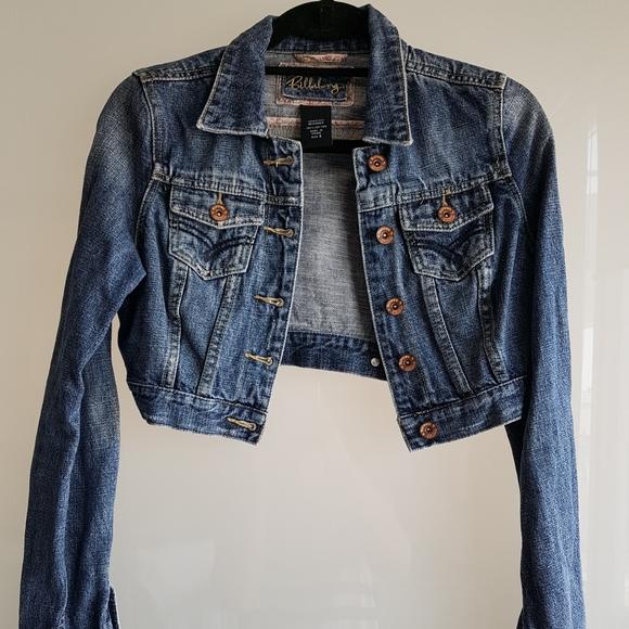 BILLABONG crop blue denim button-up jacket